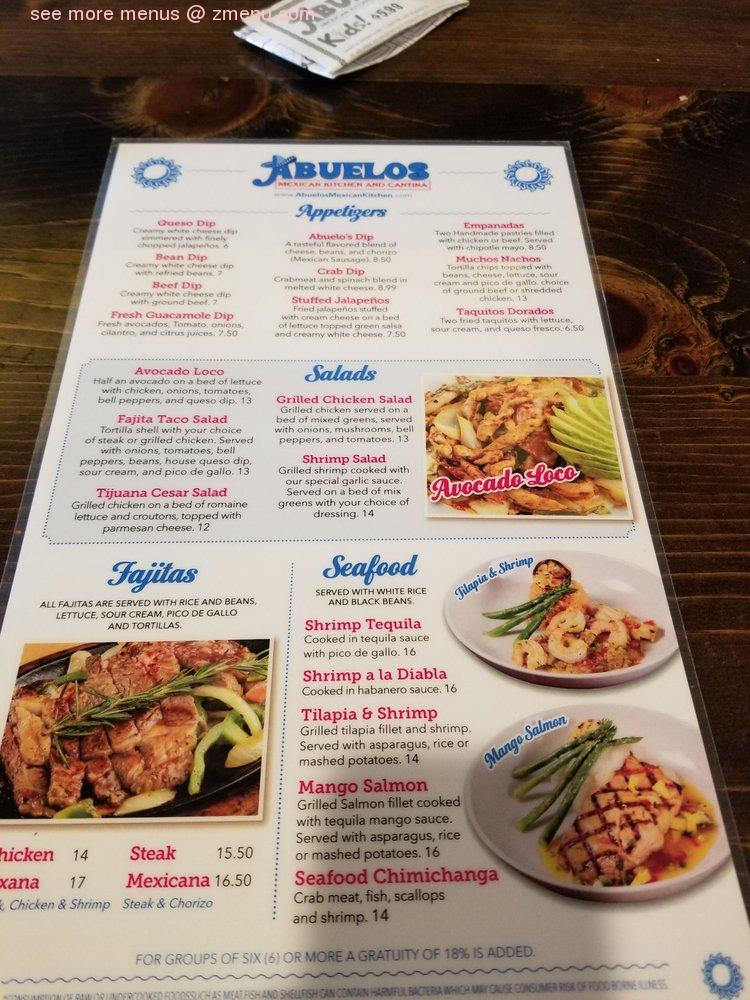 Online Menu Of Abuelos Mexican Kitchen And Cantina Restaurant Sandy Springs Georgia 30328 Zmenu
