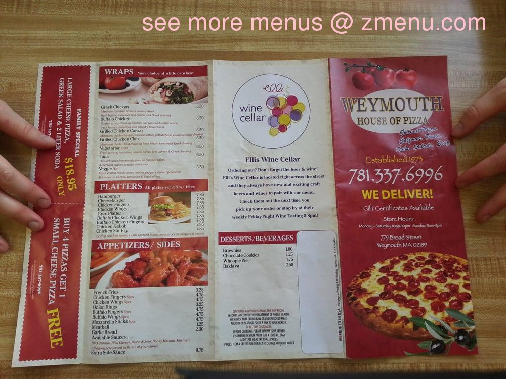 Restaurant Menu Weymouth Ma