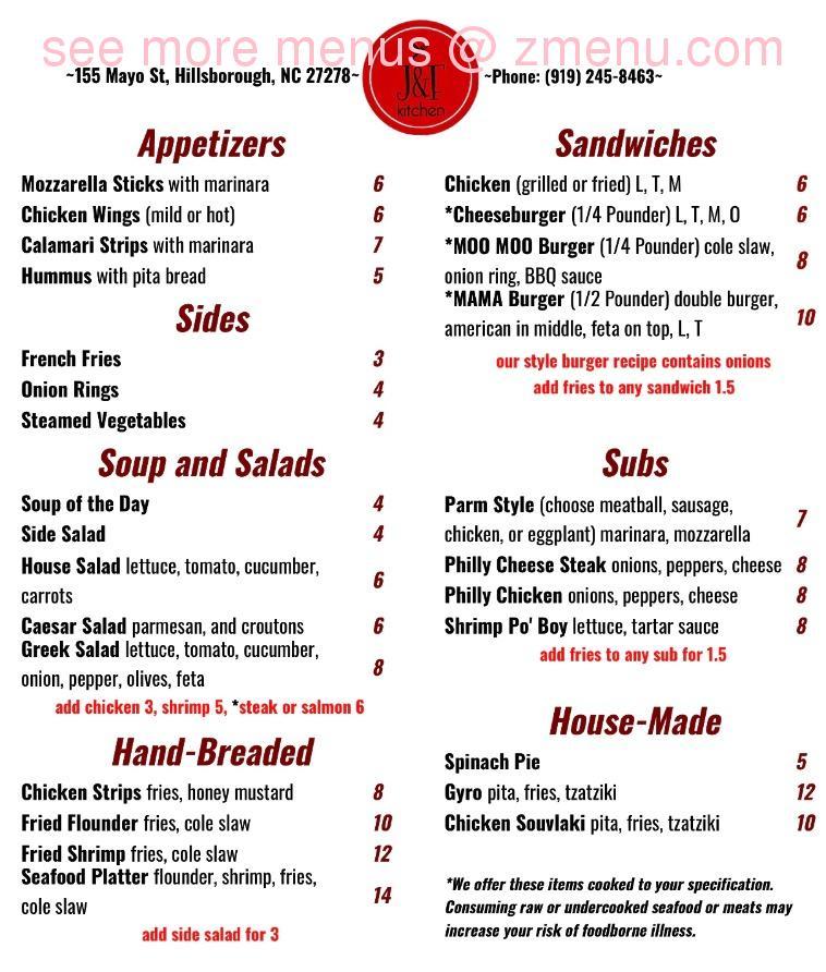 Online Menu Of J F Kitchen Restaurant Hillsborough North