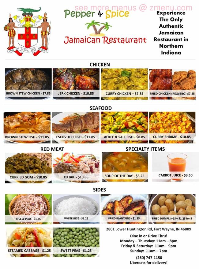 online menu of pepper  spice jamaican restaurant