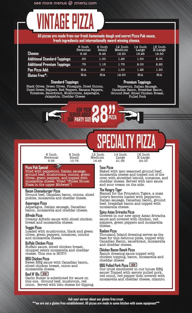 Online Menu of Princeton Pizza Pub Restaurant, Princeton ...