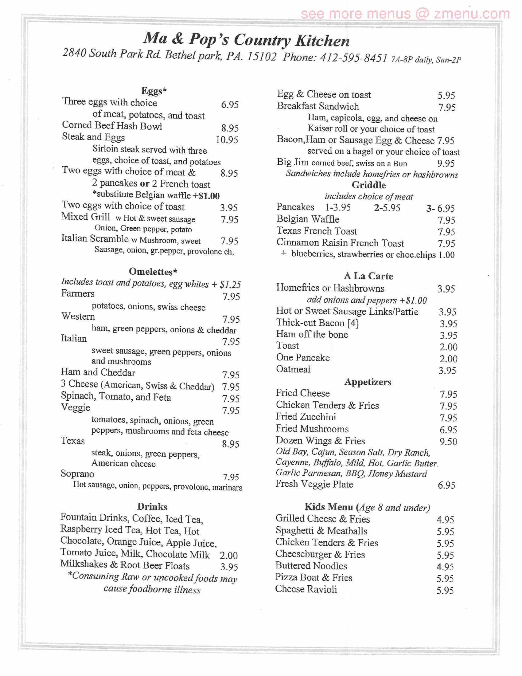 Online Menu Of Ma Pops Country Kitchen Restaurant Bethel Park Pennsylvania 15102 Zmenu