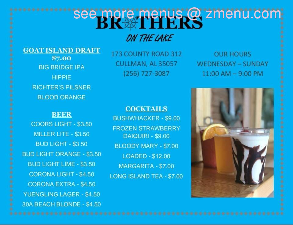 Online Menu Of Brothers On Smith Lake Restaurant Cullman