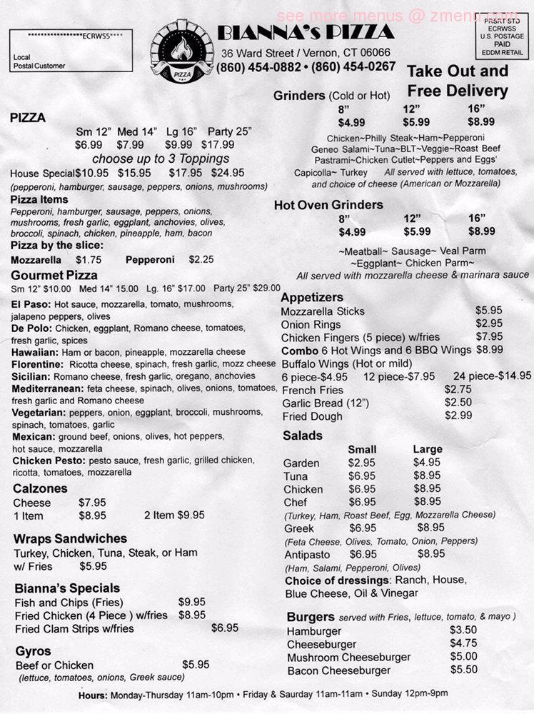 Online Menu Of Biannas Pizza Restaurant Vernon Connecticut 06066 Zmenu