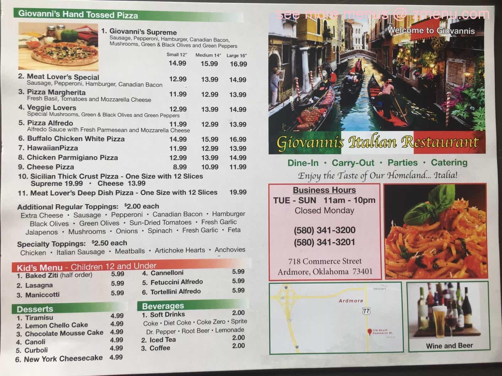 Online Menu Of Giovannis Italian Restaurant Restaurant