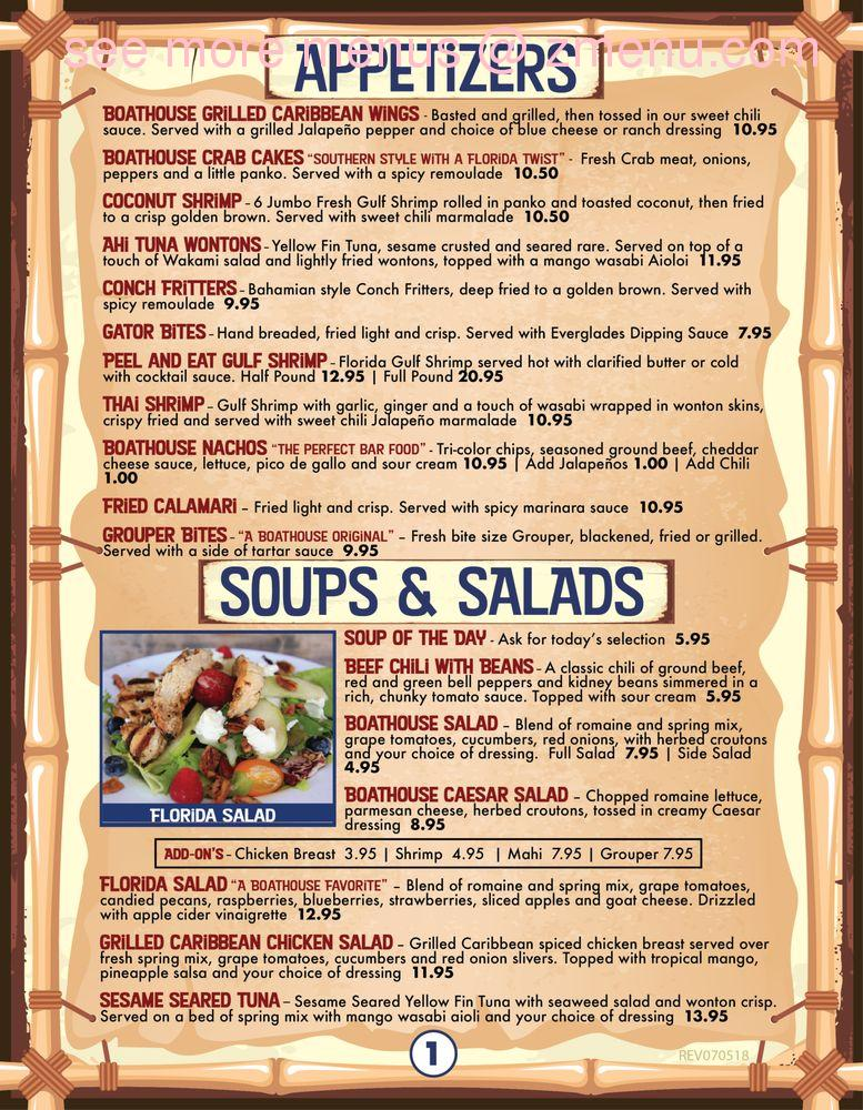 Online Menu of Boathouse - Fort Myers Restaurant, Fort Myers
