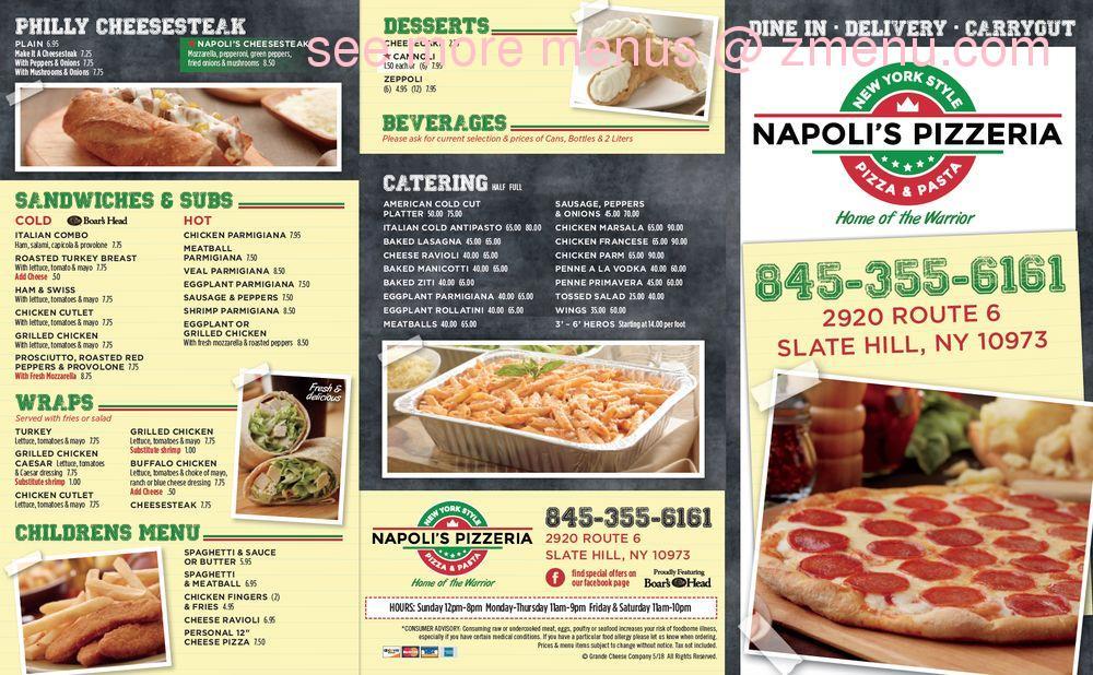 Online Menu Of Napolis Pizzeria Restaurant Slate Hill New York 10973 Zmenu