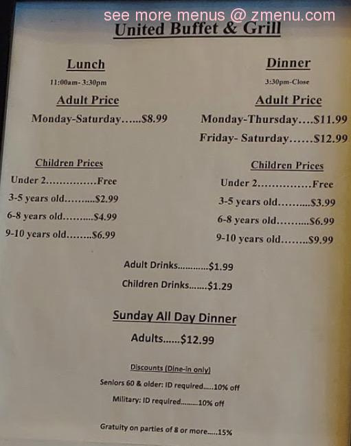 online menu of united buffet restaurant hagerstown maryland 21740 rh zmenu com