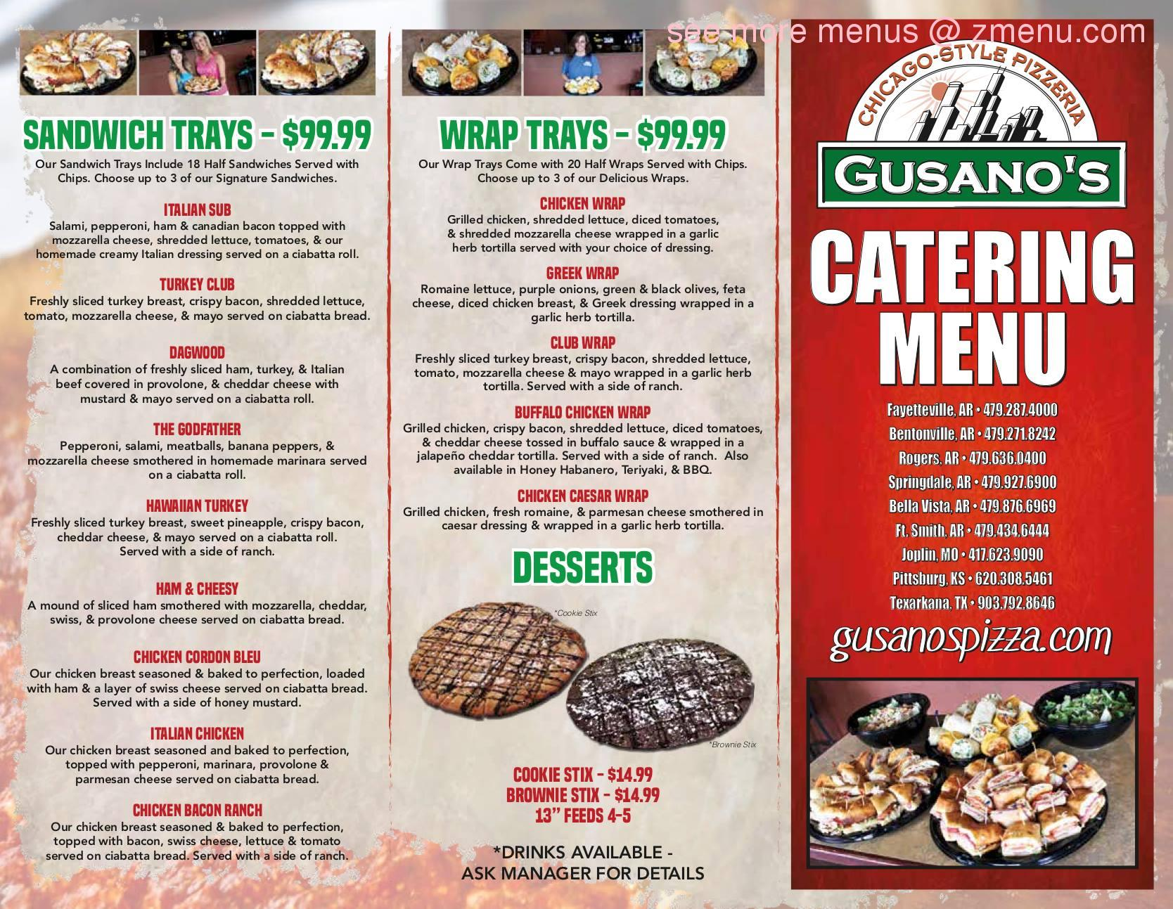 gusanos pizza fort smith ar menu