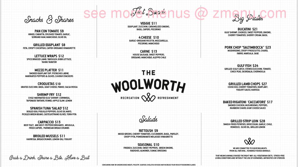 Online Menu Of The Woolworth Recreation And Refreshment Restaurant Birmingham Alabama 35205 Zmenu