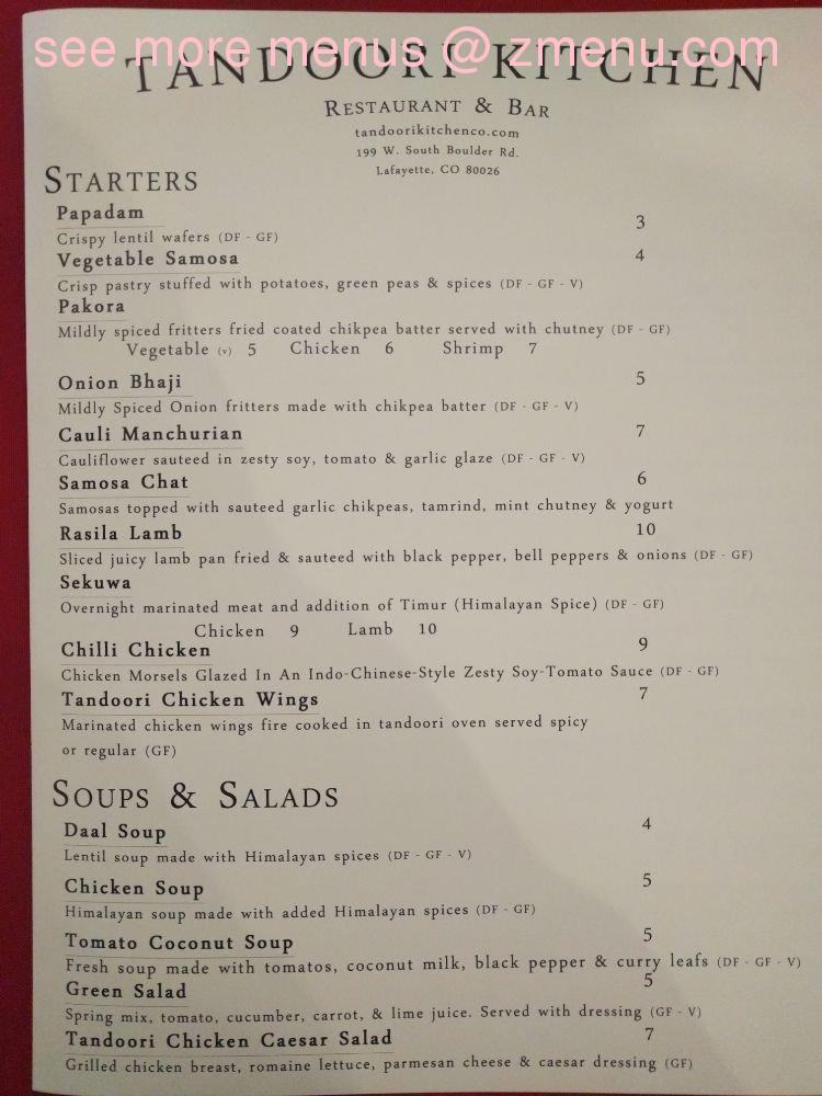 Online Menu Of Tandoori Kitchen Restaurant Lafayette Colorado 80026 Zmenu