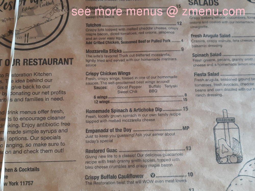 Online Menu Of Restoration Kitchen Cocktails Restaurant Lindenhurst New York 11757 Zmenu