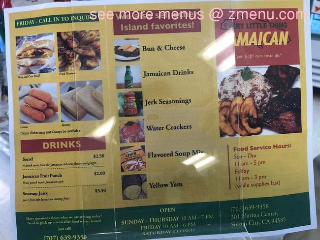 online menu of every little thing jamaican restaurant