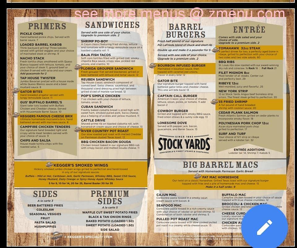 Sterling S Restaurant: Online Menu Of Keggers Tap House Restaurant, Sterling