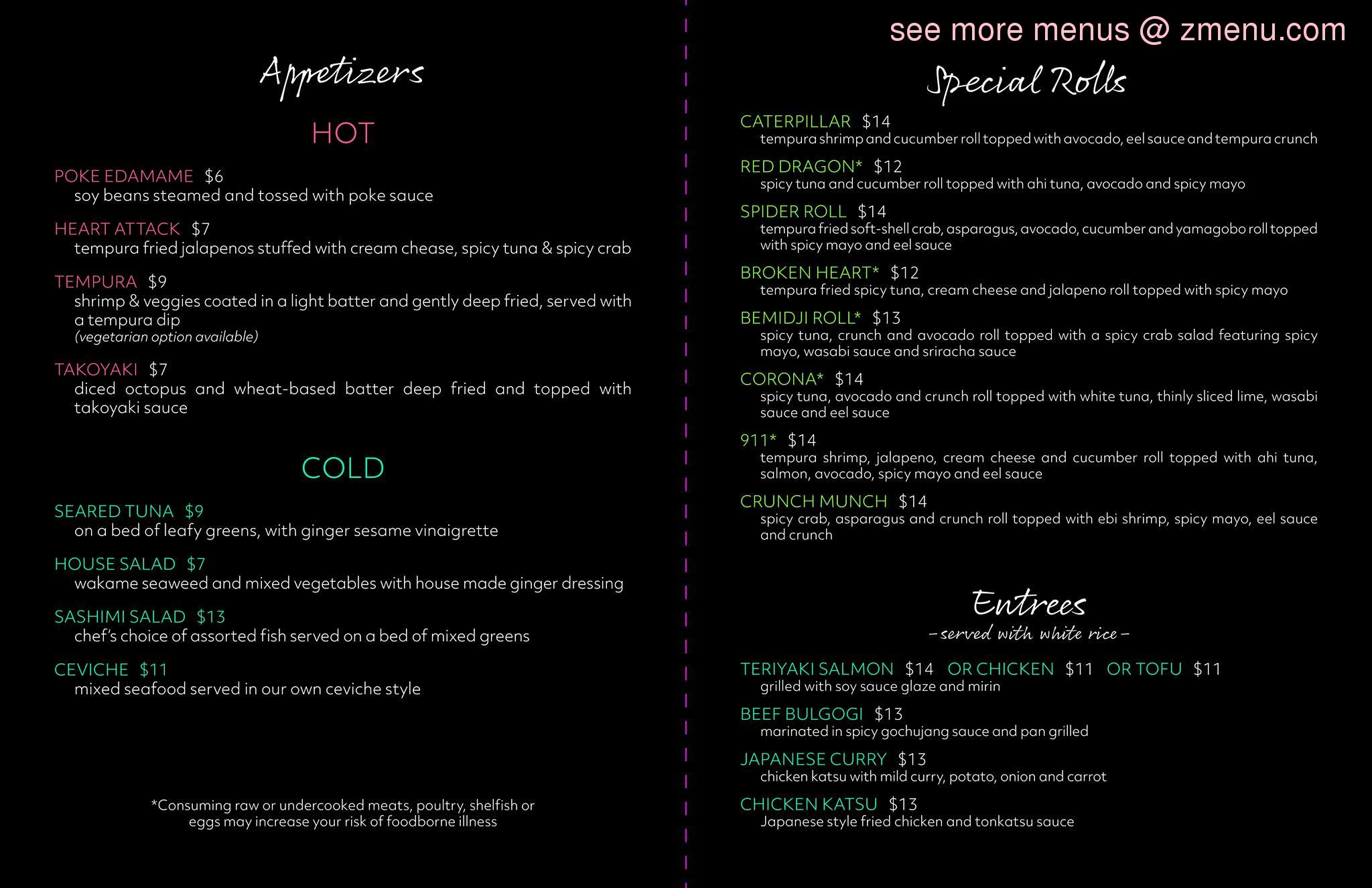 online menu of wasabi sushi asian bemidji restaurant bemidji minnesota 56601 zmenu online menu of wasabi sushi asian