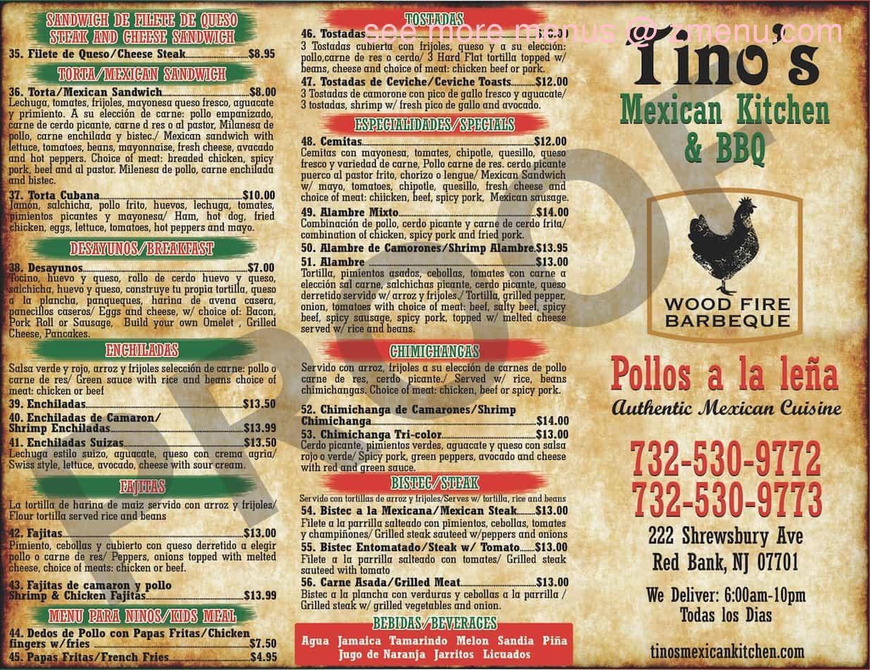 Online Menu Of Tinos Mexican Kitchen Restaurant Red Bank New Jersey 07701 Zmenu