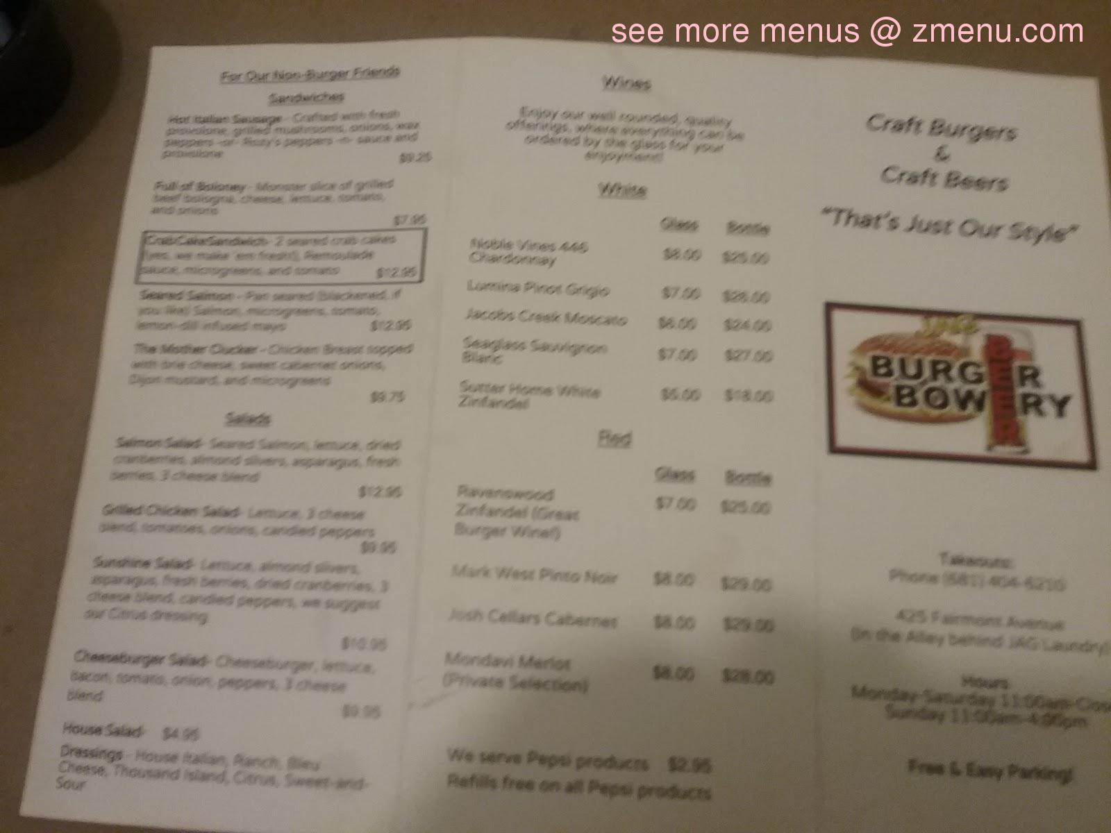 Online Menu Of Jag Beer Burger Bowery Restaurant Fairmont West Virginia 26554 Zmenu