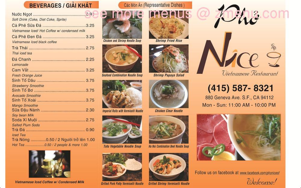 Online Menu Of Pho Nice Vietnamese Restaurant Restaurant San Francisco California 94112 Zmenu