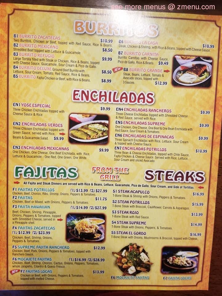 Online Menu Of Potrillos Mexican Restaurant Restaurant