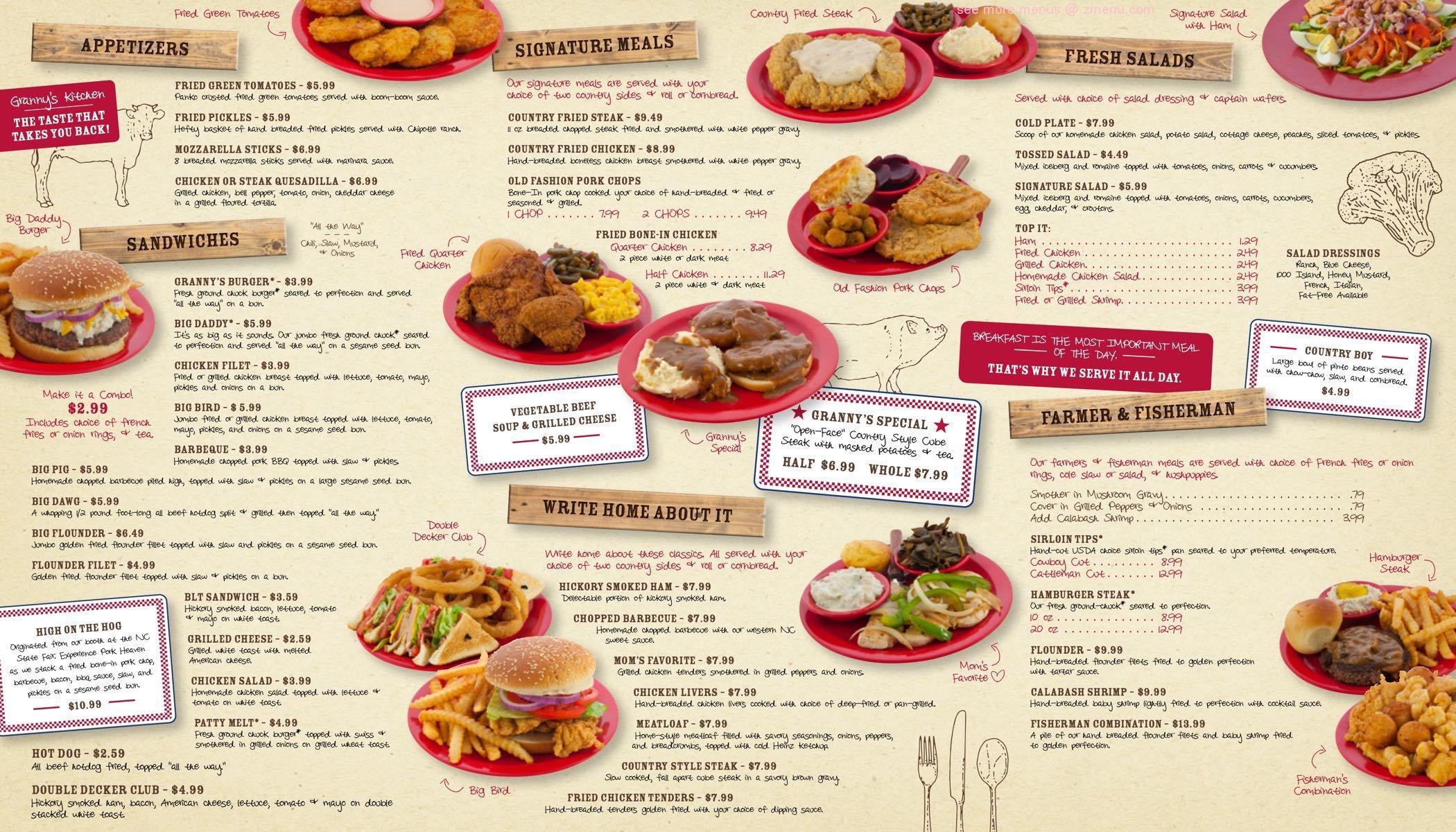 Online Menu Of Grannys Country Kitchen Claremont Restaurant Claremont North Carolina 28610 Zmenu