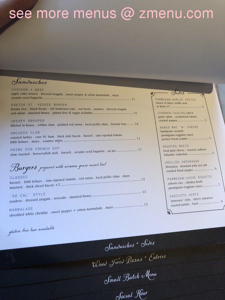 Online Menu Of The Collins Small Batch Kitchen Restaurant Phoenix Arizona 85016 Zmenu
