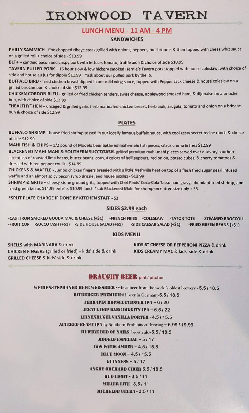 Online Menu Of Ironwood Tavern Restaurant Evans Georgia 30809 Zmenu