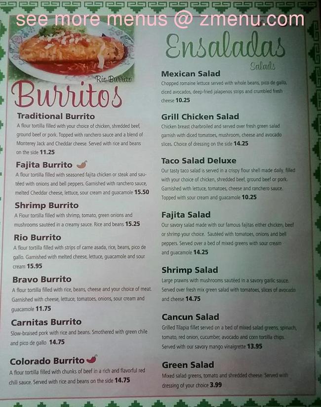 menu rio bravo montrose zmenu colorado restaurant update