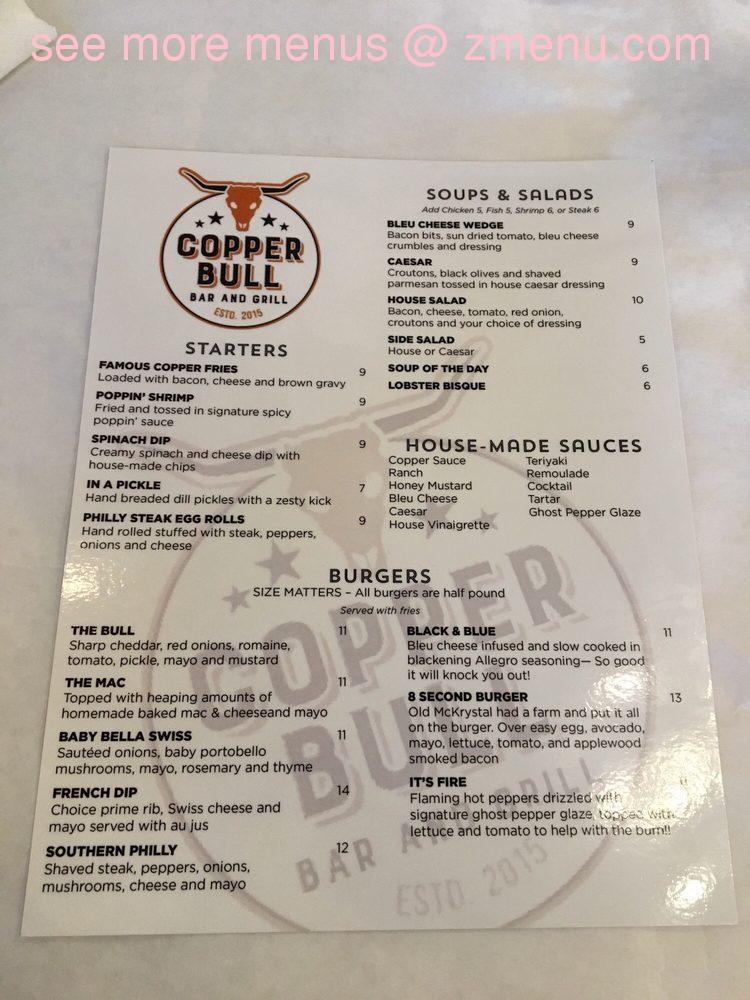 Online Menu of Copper Bull Bar and Grill Restaurant, Gulf ...