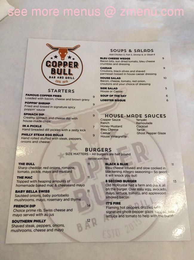 Online Menu of Copper Bull Bar and Grill Restaurant, Gulf ...