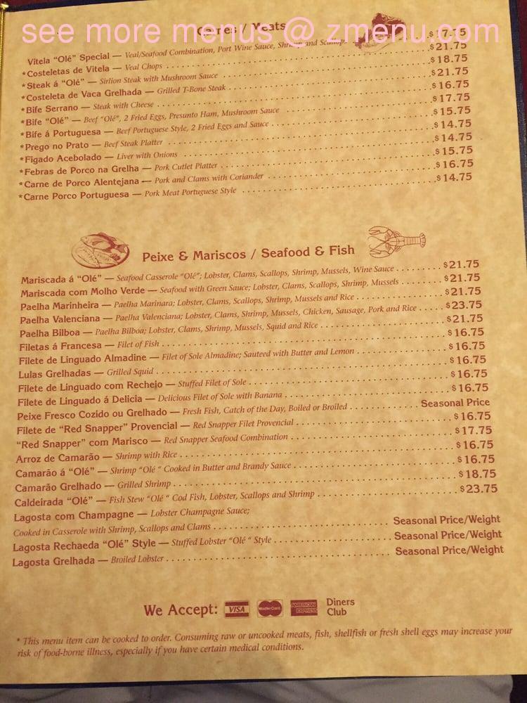 Ole Restaurant Farmingville Menu