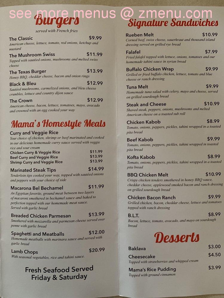 Online Menu Of Mamas Kitchen Restaurant Webster Massachusetts 01570 Zmenu