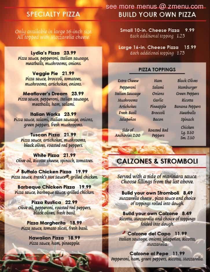 Online Menu Of Lydias Italian Kitchen Restaurant Salem Virginia 24153 Zmenu
