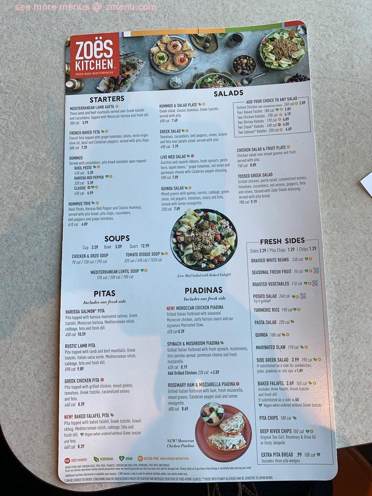 Online Menu Of Zoes Kitchen Restaurant Tyler Texas 75703 Zmenu