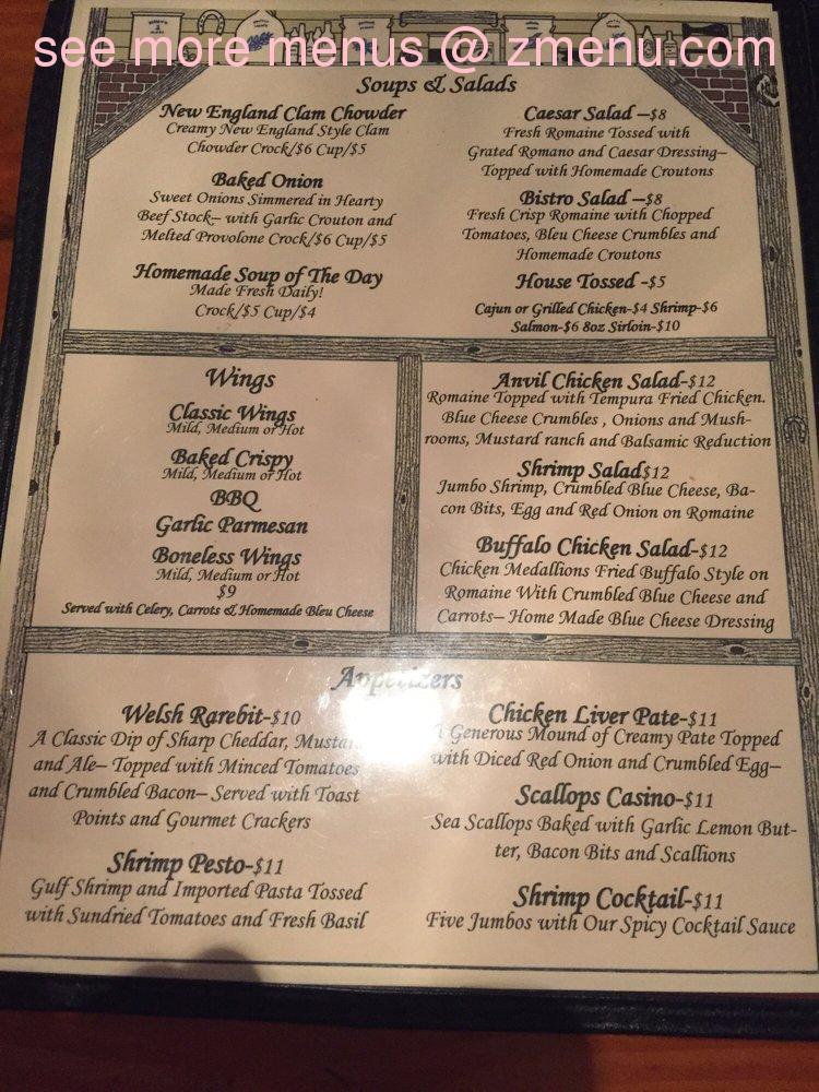 online menu of the anvil inn restaurant fort edward new