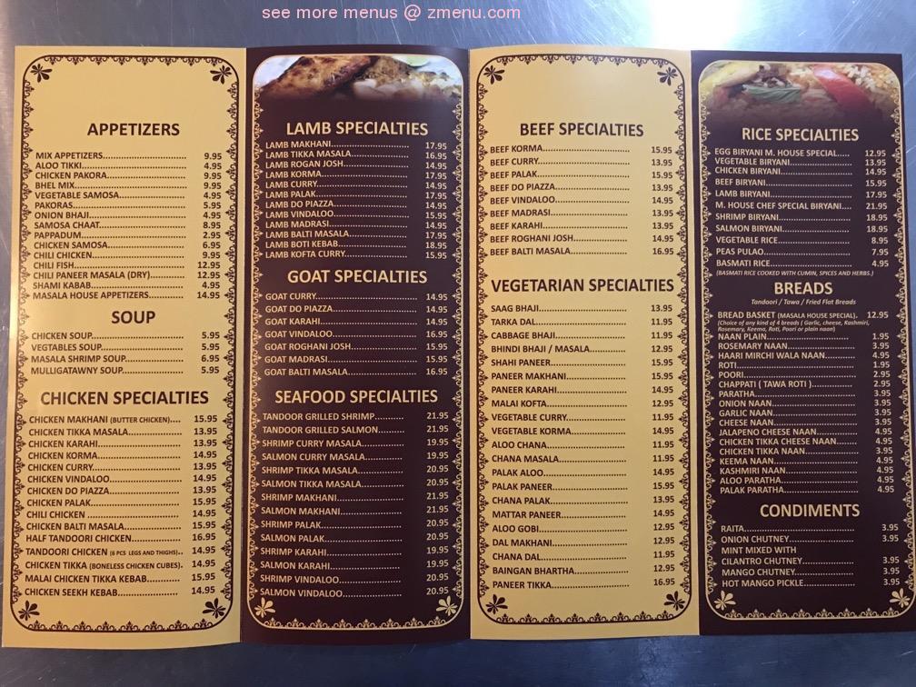 Online Menu Of Masala House Restaurant Rensselaer New York 12144 Zmenu