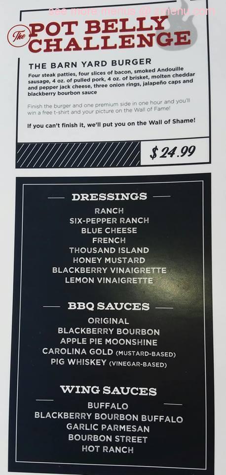 Online Menu Of The Pot Belly Pig Restaurant Greenfield Ohio 45123 Zmenu