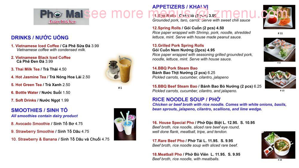Online Menu Of Pho Mai Asian Kitchen Restaurant Riverview