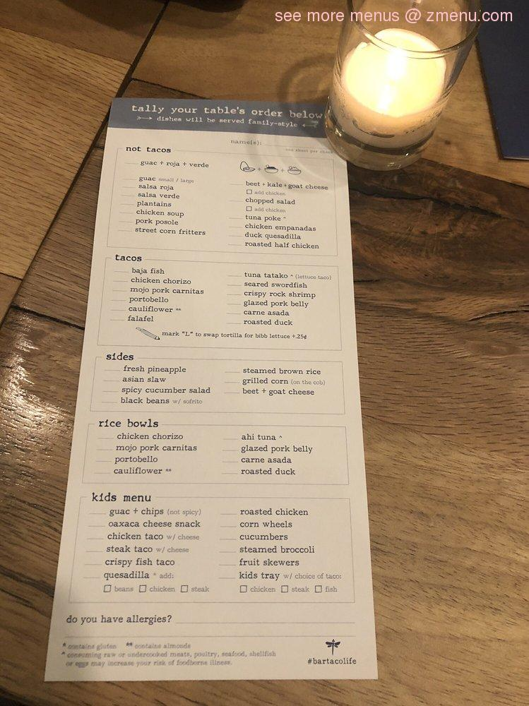 Online Menu of Bartaco Hilldale Restaurant, Madison