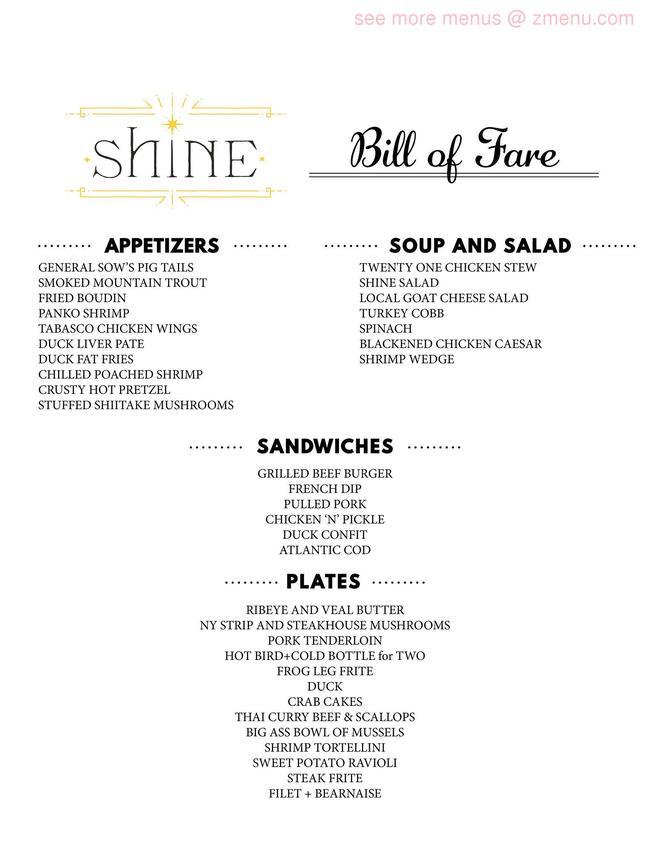 Online Menu Of Shine Restaurant Hendersonville North