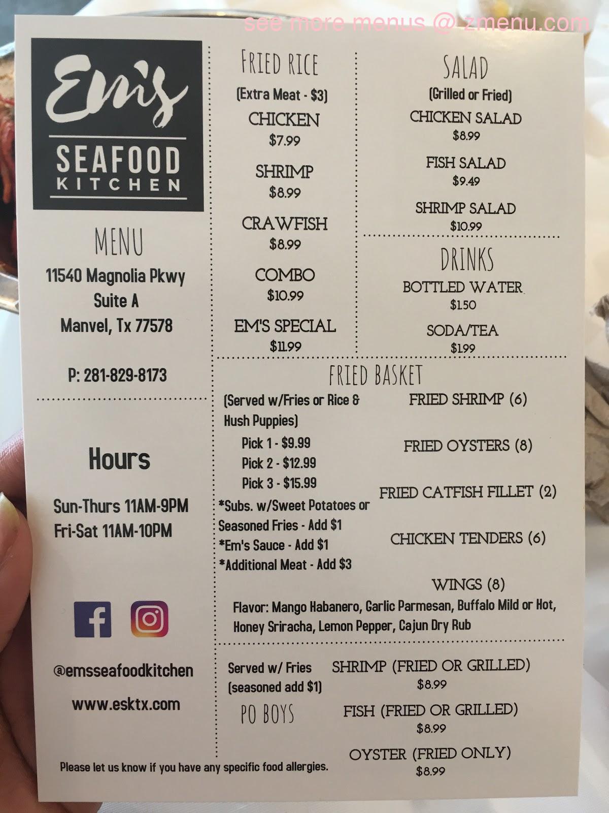 Online Menu of Ems Seafood Kitchen ...