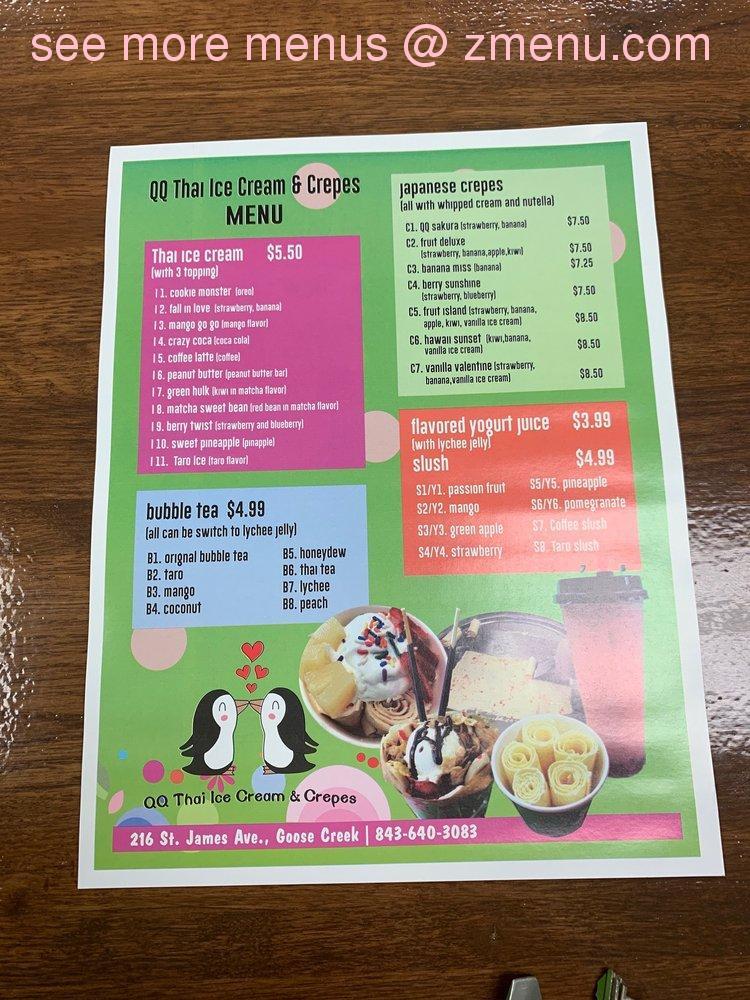 Online Menu Of Qq Thai Ice Cream Crepes Restaurant Goose Creek South Carolina 29445 Zmenu