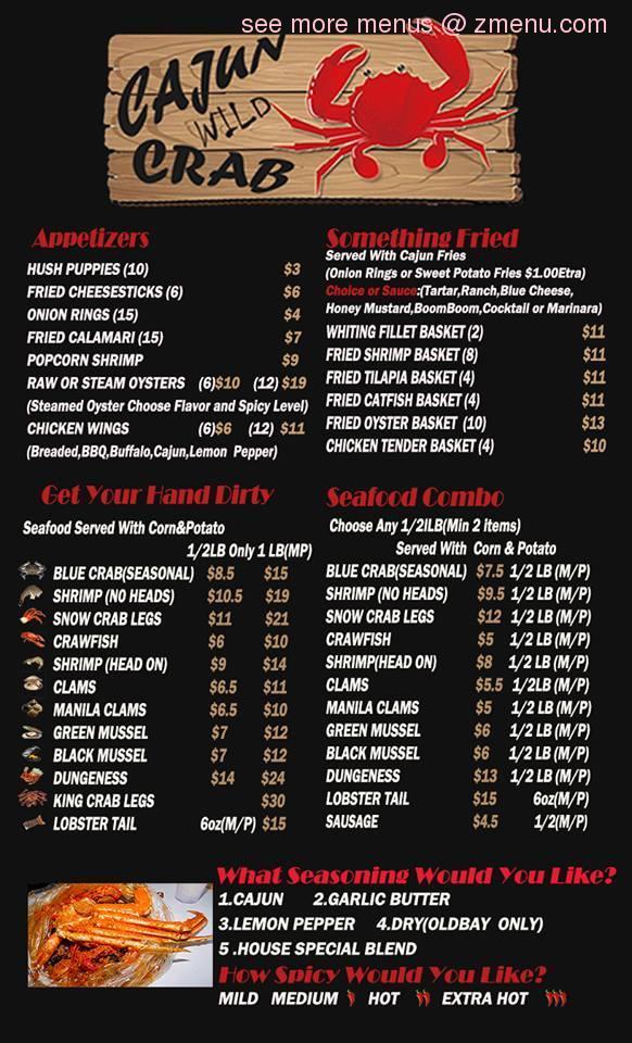 Online Menu Of Cajun Wild Crab Restaurant  Valdosta  Georgia  31601