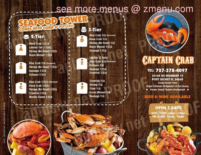 Online Menu Of Captain Crab Restaurant Port Richey Florida