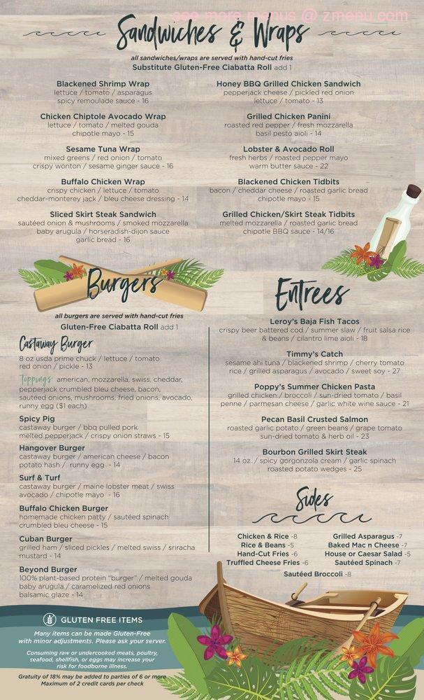 Online Menu Of Castaway Restaurant Long Beach New York 11561 Zmenu