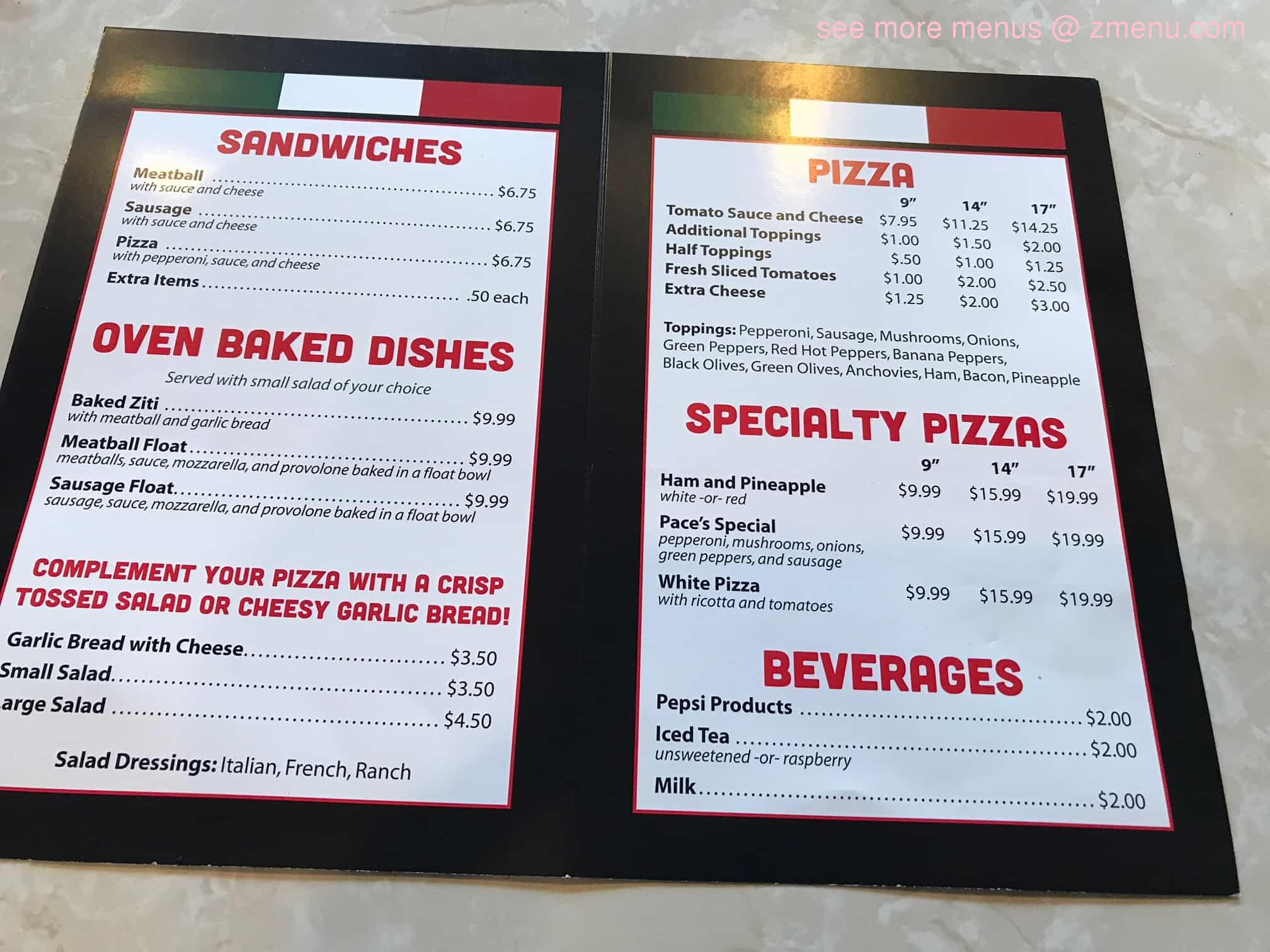 Online Menu Of Paces Pizzeria Restaurant Jamestown New
