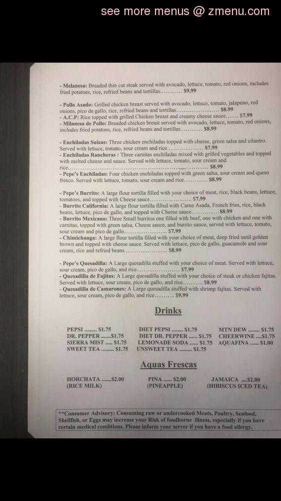 Online Menu Of Pepes Tacos Restaurant Wilkesboro North Carolina 28697 Zmenu