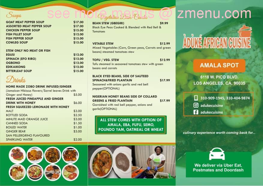 Online Menu Of Aduke African Cuisine Restaurant Los Angeles California 90035 Zmenu