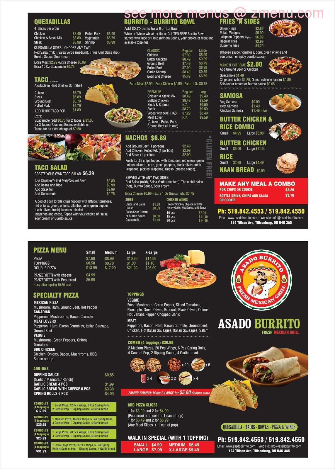 Online Menu Of Asado Burrito Pizza Restaurant Tillsonburg Ontario N4g 3a5 Zmenu