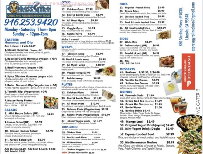 Euro Gyro Menu – Current menu at valley fruits & veggies.