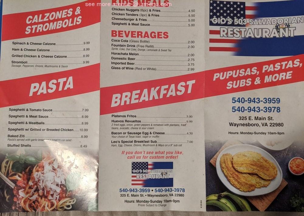 Online Menu Of Gios 503 Salvadorian Restaurant Restaurant Waynesboro Virginia 22980 Zmenu